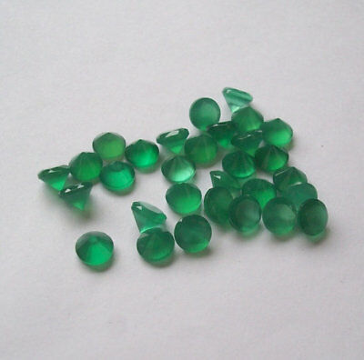 15 Pcs Natural GREEN ONYX 7x7 mm Round Faceted Cut Loose Gemstone AR-58
