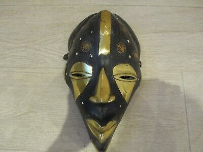 Antique African Hand Carved Wood Cameroon Mask, Brass & Coins 1930's