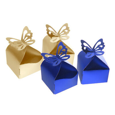 100pcs Butterfly Candy Cake Gift Boxes Wedding Party Favor Blue+Champagne