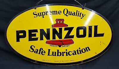 Vintage Penzoil 7-77 Double Sided Metal Sign