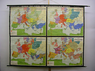 Schulwandkarte Old Wall Map Map Medieval German Reiches 204x163c ~ 1957
