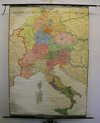 Schulwandkarte Wall Map Germany and Italy Knight's Age 911-1125 148x209 ~ 1950