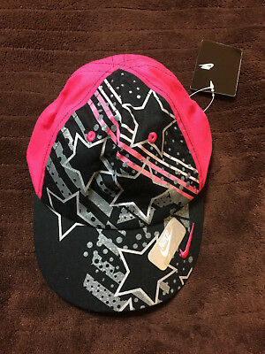 4b599a513a9 NIKE Child Size 4 6X Hat Cap Girls Black  Pink Swoosh Adjustable Strap NWT