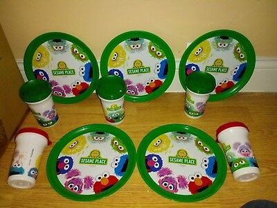 *FREE SHIPPING*  15 PIECE sesame place dish set  5 plates/ 5cups/ 5 sippy lids