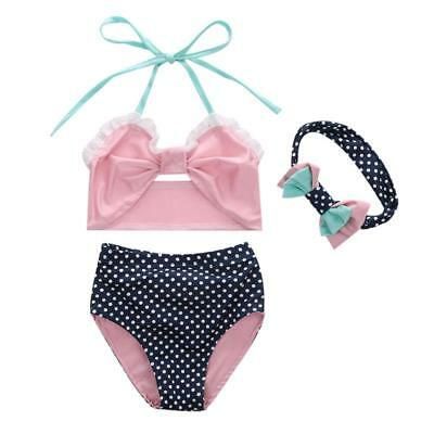 Cute Striped Sailor Child Bikini Swimsuit Swimwear High Waisted For Baby Girls