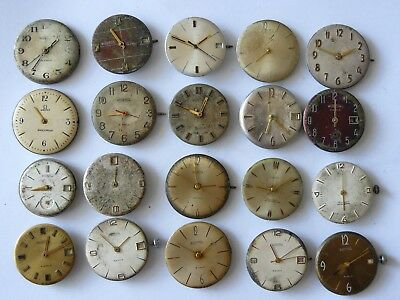 Lot of 20 USSR Russian watch movements mechanical Wostok for service or parts