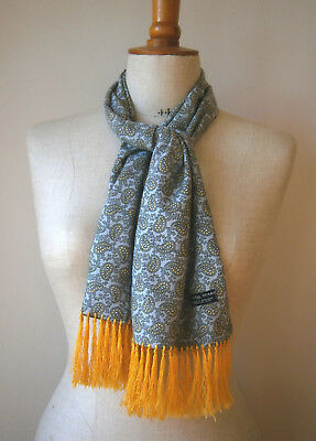 VINTAGE TOOTAL 1950s GREY BLACK & YELLOW PAISLEY MENS RAYON SCARF GOODWOOD