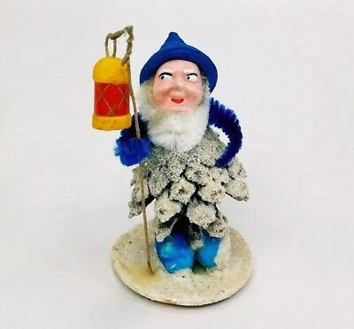 Vtg Pine Cone Gnome Dwarf Santa Elf Blue Spun Cotton Composite Germany US Zone