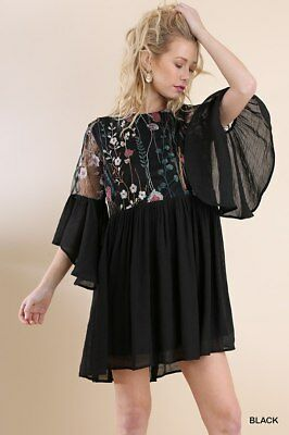 8164e15d073d C1054 UMGEE Angel Sleeve Floral Embroidered Lace Keyhole Dress with Lining  Black