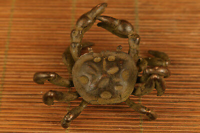 Rare chinese old bronze Crab Figure statue home decoration noble gift netsuke