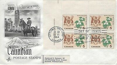 Canada - #418 Ul Block - Ontario Provincial Emblems First Day Cover (1964) Fdc