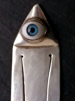 RARE Antique 925 Sterling Silver Eye of Providence Bookmark Masonic Vintage