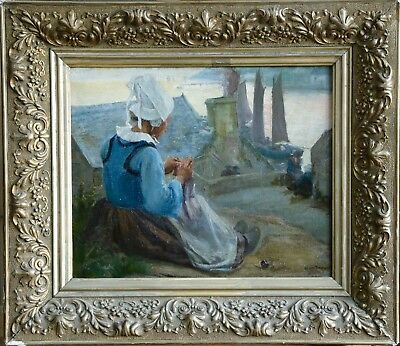 Alfred Fournier (1872-1924) Signed French Oil Pont Aven Brittany Concarneau Girl