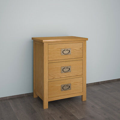 Solid Oak Bedside Table with Three Drawers Bedroom Table Furniture Nightstand