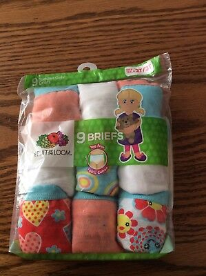 Fruit of the Loom Toddler Girls Assorted Briefs Size 2T / 3T