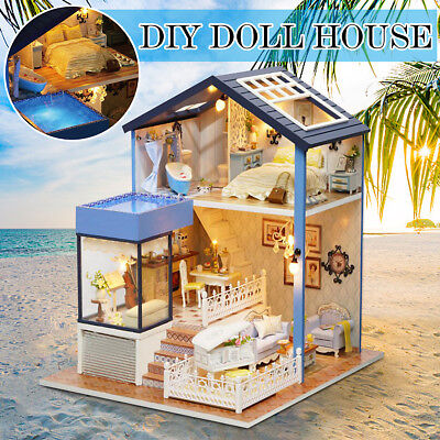 New Seattle Cottage Dollhouse Miniature DIY Kit Dolls House With Furniture Gift