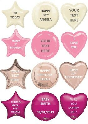 "Personalised Foil Balloon 18"" Message Name Birthday Party Decorations Age Love"