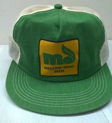 Vintage Mellow Dent Seed Hat Cap Green mesh snapback made in USA K-products