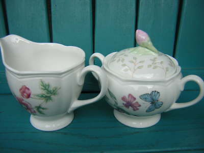lenox china 3-PIECE BUTTERFLY MEADOW CREAMER AND SUGAR BOWL louise le luyer MINT