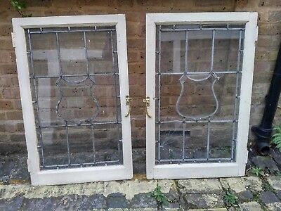Antique Leaded Glass Windows in Wooden Frames