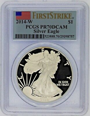 2014-W $1 Proof Silver Eagle PR70 PCGS Flag First Strike