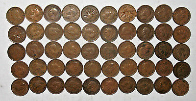 50 Canada King George VI Pennies Lot ~ Canadian One Cent Lot ~ 1 Roll ~ (t60)