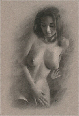 Female Nude DRAWING ORIGINAL Charcoal Chalk Art Naked lady sitting NO RESERVE