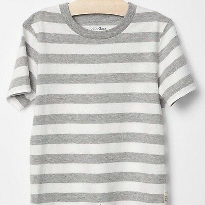 NEW Baby GAP Toddler Boys 18-24 mos Gray Striped Cotton T-Shirt