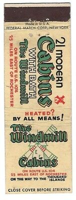 WINDMILL CABINS vintage matchcover matchbook - ROCHESTER, NEW YORK