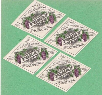 Set of 4 Vintage 1910's Maupin's Tokay Crush Grape Soda Labels, Chicago, Ill.