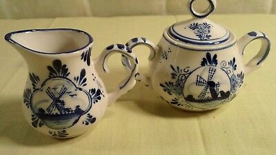 Vintage Dutch Delft Blue Hand Painted Small Creamer and Sugar Bowl with Lid
