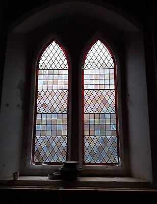 Job Lot Reclaimed Victorian Church Stained Glass Pieces,Color,Lead,Panes,Salvage