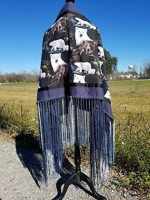 Bear Clan, Native American Style Shawl,Prayer,Meditation,Regalia, 14in Fringe