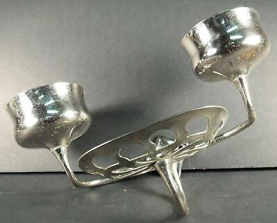 Antique Large Nickel Double Cup Soap Dish Combo Nickel Plated Brass Wall Mount