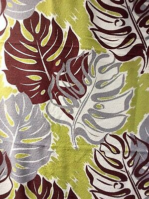 Vintage 1950's Barkcloth Fabric Large Tropical Leaves Green Brown Cotton 44x114""