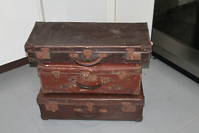 3 Vintage Old Brown Hard Suitcases Display Case Luggage Retro Antique Storage x3
