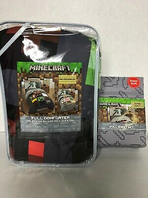Minecraft Full Reversible Comforter and Sheets 5 pc Bedding Set