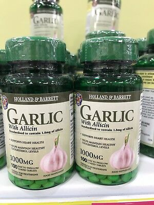 Holland&Barrett Garlic&Allicin(2x100tablets, 1000mg, Free International Postage)