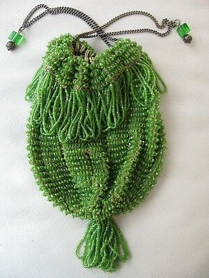 Antiques Vintage Antique Tan Geometric Crochet Knit Lime Green Bead Ball Handle Flapper Purse