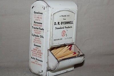 RARE 1920's STANDARD RED CROWN GAS STATION MATCH HOLDER SIGN O'CONNEL OIL BIKE