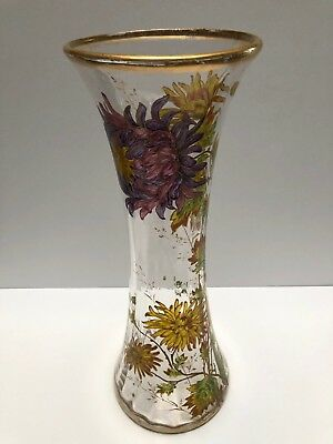 Huge Baccarat Antique Vase With Amazing Enamel And Gold Flowers