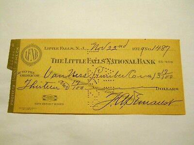 1929 Check - Payable To Van Ness Lumber Co.