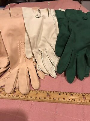Vintage Lot Of 3 Ladies Gloves Green Ivory Natural