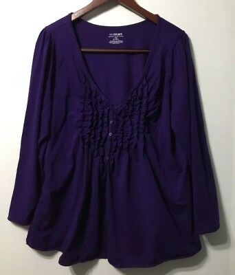 Lane Bryant Womens Shirt Peasant Purple Plus Top Size 18/20