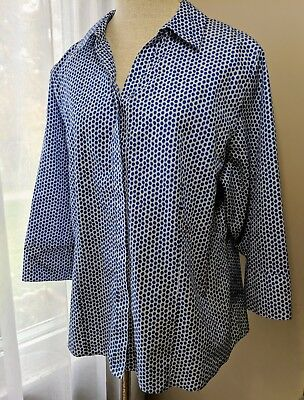CHICOS Size 3 Womens Blouse - Royal Blue White Polka Dot - Fold Over 3/4 Sleeve
