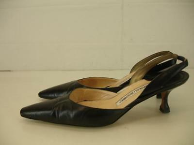 aacc102d363 Womens 9.5 10 40 Manolo Blahnik Black Leather Shoes Pumps Slingback Kitten  Heels