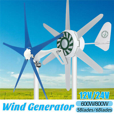 12/24V 600/800W Wind Turbine Generator 5/6 Blade Home Power Charger Clean Energy