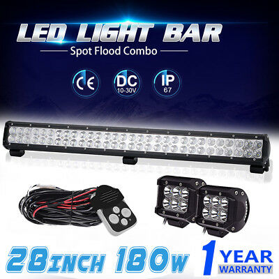 28inch 180W LED Light Bar Flood Spot Combo Work Lamp OffRoad UTV 4WD With Wiring