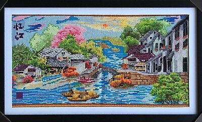 """Embroidered Pictures -Handcrafted & Finished Piece  """"Spring in Japanese Village"""""""