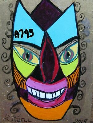 """A795 """"new""""   Original Acrylic Miniature Art Aceo Painting By Ljh """"fantasy Face''"""